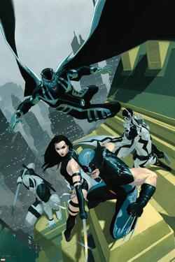 Uncanny X-Force No.1 Cover: Wolverine, Psylocke, Deadpool, Fantomax, and Archangel Posing by Esad Ribic