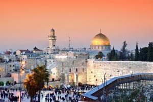 Skyline of the Old City at He Western Wall and Temple Mount in Jerusalem, Israel. by ESB Professional