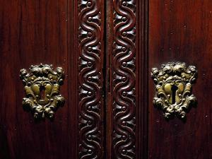 Escutcheon on Doors of Walnut Wardrobe with Farnese Family Coat of Arms, Italy