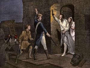 Ethan Allen and the Green Mountain Boys Taking Fort Ticonderoga from the British, 1775