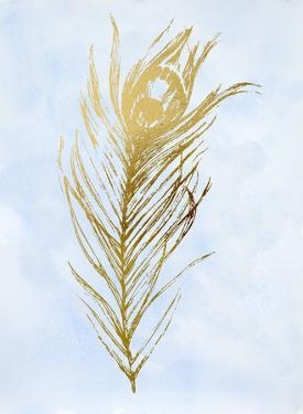 Gold Foil Feather I on Blue by Ethan Harper