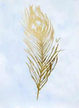 Gold Foil Feather II on Blue by Ethan Harper