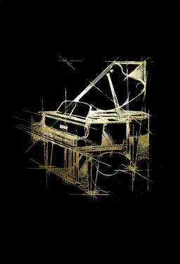 Gold Foil Piano on Black by Ethan Harper