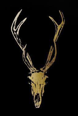 Gold Foil Rustic Mount I on Black by Ethan Harper