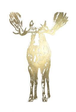 Gold Foil Standing Moose by Ethan Harper