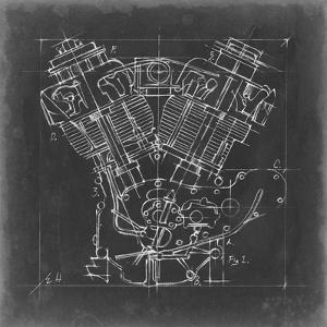 Motorcycle Engine Blueprint I by Ethan Harper