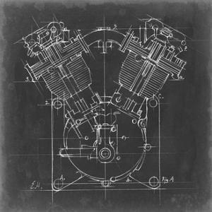 Motorcycle Engine Blueprint II by Ethan Harper
