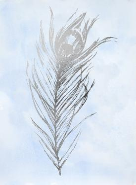Silver Foil Feather I on Blue by Ethan Harper