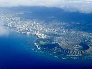 Aerial View of Honolulu, Waikiki and Diamond Head, Oahu, Hawaii, USA by Ethel Davies