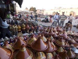Place El Hedim and Tagine Pots, Meknes, Morocco, North Africa, Africa by Ethel Davies