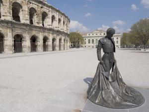 Roman Arena with Bullfighter Statue, Nimes, Languedoc, France, Europe by Ethel Davies