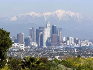 View of Downtown Los Angeles Looking Towards San Bernardino Mountains, California, USA by Ethel Davies