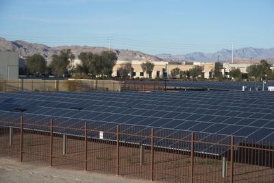 Large Bank of Solar Panels, Las Vegas, Nevada, United States of America, North America