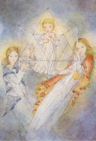 Ethereal Girls with Child in Magic Prism