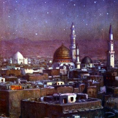 View of Medina, Arabia, by Moonlight, Showing the Dome of the Tomb of the Prophet, 1918