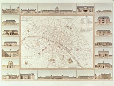 Plan of Paris Indicating Civil Hospitals and Homes, 1818, Published in 1820