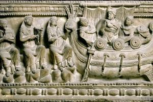 Etruscan Bas-Relief of a Sarcophagus Depicting Ulysses