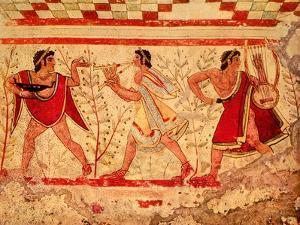 Etruscan Musicians, Copy of a 5th Century BC Fresco in the Tomb of the Leopard at Tarquinia