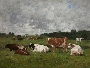 Cows at the Pasture by Eug?ne Boudin