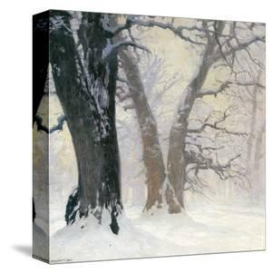 Snow Covered Oaks in the Sun by Eugen Bracht