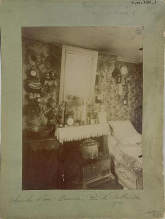 Bedroom of a Female Worker, Rue De Belleville, Paris, 1910