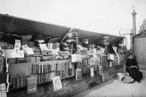Paris, 1910-1911 - Secondhand Book Dealer, place de la Bastille bouquiniste by Eugene Atget