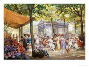 Parisian Flower Market by Eugene Auguste Deully