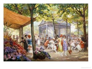 Parisian Flower Market by Eugene Auguste Deully