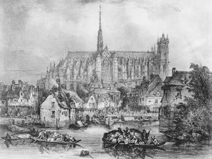View of the Cathedral of Notre Dame, Amiens, from Pont Dudon by Eugene Balan