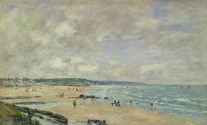 Beach at Trouville, 1893 by Eugène Boudin