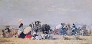 Beach Scene, Trouville, 1873 by Eugène Boudin
