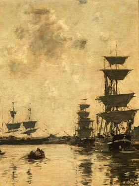 Deauville: Schooners at Anchor, 1887 by Eugène Boudin