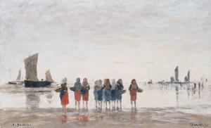 Pecheuses a Berck, 1875 by Eugène Boudin