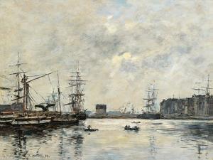 Port of Le Havre (Dock of La Barre) by Eugène Boudin