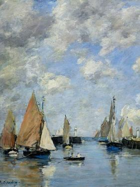 The Jetty at High Tide, Trouville by Eugène Boudin
