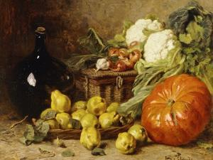 A Still Life with a Wine Flagon, a Basket, Pears, Onions, Cauliflowers, Cabbages, Garlic and a… by Eugene Claude