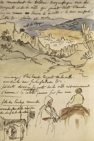 Album du Maroc: En haut, vue des remparts et de la ville de Tanger, la mer vers la gauche et fond