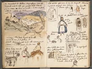 Album du Maroc: vue des remparts et de la ville de Tanger, en bas : arcades et deux arabes dont by Eugene Delacroix