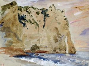 Cliffs of Etretat. the Pied Du Cheval, 1838 (W/C and Gouache on Paper) by Eugene Delacroix