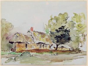 Cottage under Large Trees in Summer, C.1831 by Eugene Delacroix