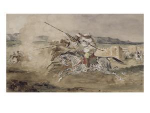 Fantasia arabe devant une portes de Mekinès by Eugene Delacroix
