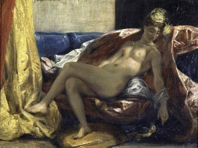 Femme Caressant Un Perroquet by Eugene Delacroix