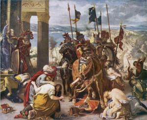 Fifth Crusade: The Crusaders Under Baudouin Take Constantinople by Eugene Delacroix