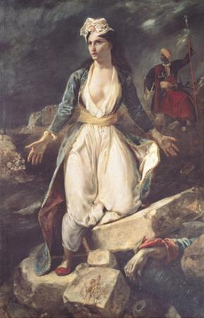 Greece Expiring on the Ruins of Missolonghi, 1826 by Eugene Delacroix