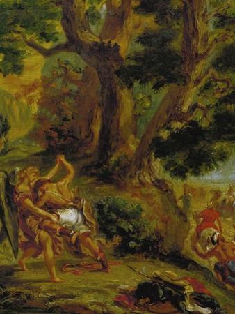 Jacob Fighting the Angel by Eugene Delacroix