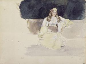 Jeune femme juive assise by Eugene Delacroix