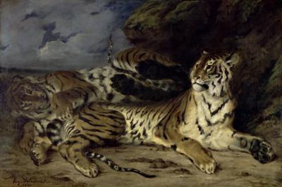 Jeune Tigre Jouant Avec Sa Mere by Eugene Delacroix