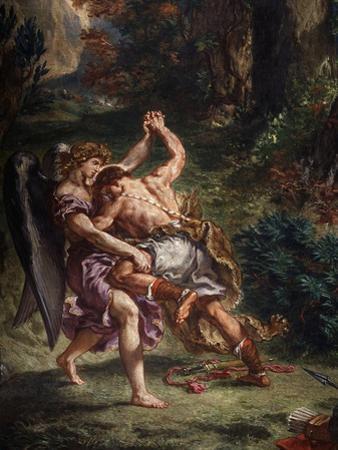Le Combat De Jacob Et L'Ange (Jacob Fighting the Angel), 1855-61 Fresco, (Detail)