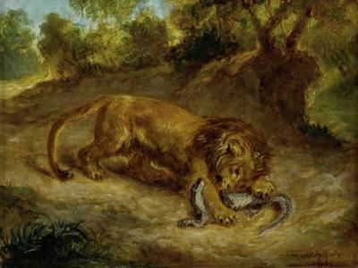 Lion and cayman,  R.F. 1395. by Eugene Delacroix