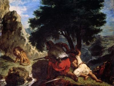 Lion Hunt in Morocco, 1854 by Eugene Delacroix